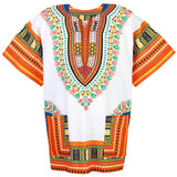 White and Orange Colorful African Dashiki Shirt Clothes