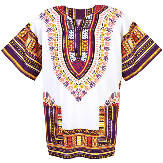 White and Purple Colorful African Dashiki Shirt