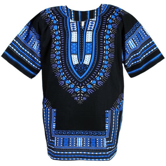 Black and Blue Plus Size African Dashiki Shirt