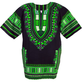 Black and Green African Dashiki Shirt