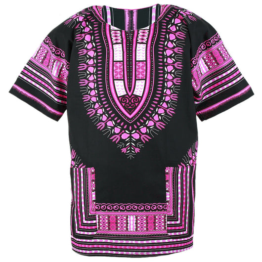 Black and Pink African Dashiki Shirt