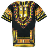 Black and Yellow Gold African Dashiki Shirt Tops