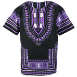 Black and Purple African Dashiki Shirt Tops