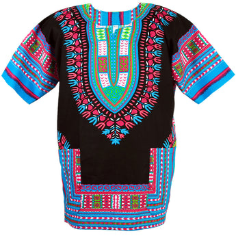 Black and Blue Colorful African Dashiki Shirt