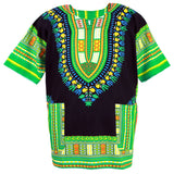 Green and Black African Dashiki Tops Shirt