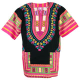 Black and Pink Colorful African Dashiki Shirt