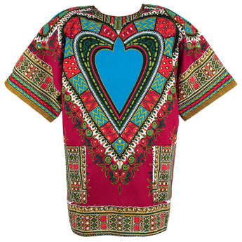 Burgundy and Blue Heart African Dashiki Shirt