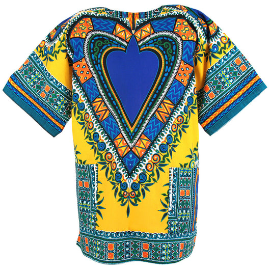 Yellow and Blue Heart African Dashiki Shirt
