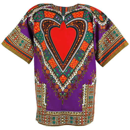 Purple and Red Heart African Dashiki Shirt