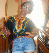 Black Colorful Plus Size African Dashiki Shirt