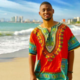 Red Plus Size African Dashiki Shirt for Mens