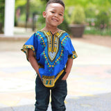 Blue Toddler Kids African Dashiki Shirt