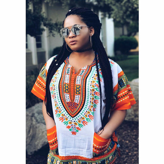 White and Orange Colorful African Dashiki Shirt