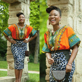 Orange Women Plus Size African Dashiki Shirt
