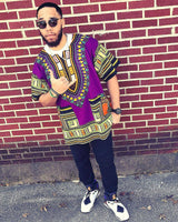 Purple Nigerian African Dashiki Shirt Clothes