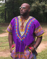 Purple Plus Size African Dashiki Shirt For Mens