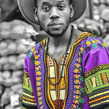 Purple Black Mens African Dashiki Shirt