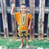 Orange Toddler Kids African Dashiki Set1