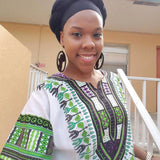 White and Green African Dashiki Shirt For Womens