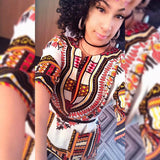 White and Orange African Dashiki Shirt