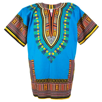 Light Blue Plus Size African Dashiki Shirt