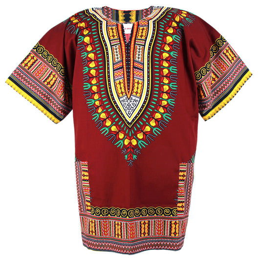 Brown Plus Size African Dashiki Shirt