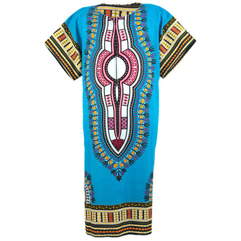 Light Blue African Dashiki Long Dress
