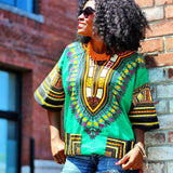 Green African Dashiki Shirt Fashion