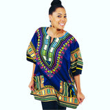 Dark Blue Women African Dashiki Shirt