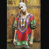 Burgundy Lady African Dashiki Shirt