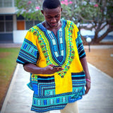 Yellow African Dashiki Shirt for Mens