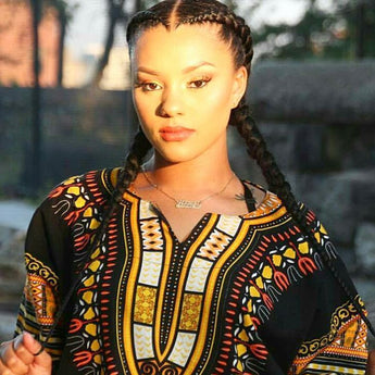 Black and Yellow Gold African Dashiki Shirt