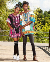 Pink and Black African Unisex Dashiki Shirt