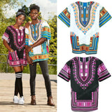 White and Light Blue Colorful African Dashiki Shirt