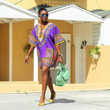 Purple Plus Size African Dashiki Shirt for Ladies