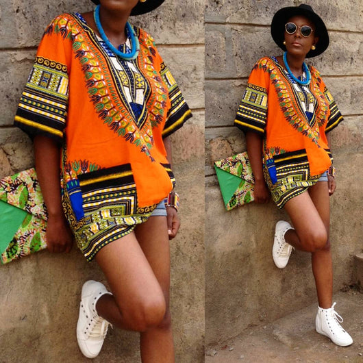 Orange African Dashiki Shirt Sales