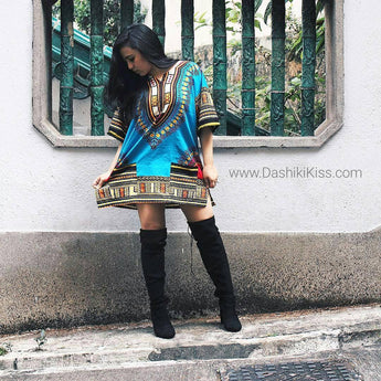 Light Blue Lady African Dashiki Shirt