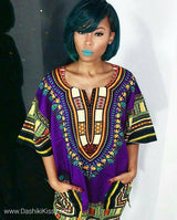 Purple Lady African Dashiki Shirt
