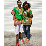 Green Plus Size African Dashiki Shirt