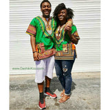 Green African Dashiki Shirt Unisex