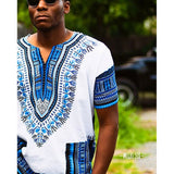 White and Blue Plus Size African Dashiki Shirt for Mens Womens