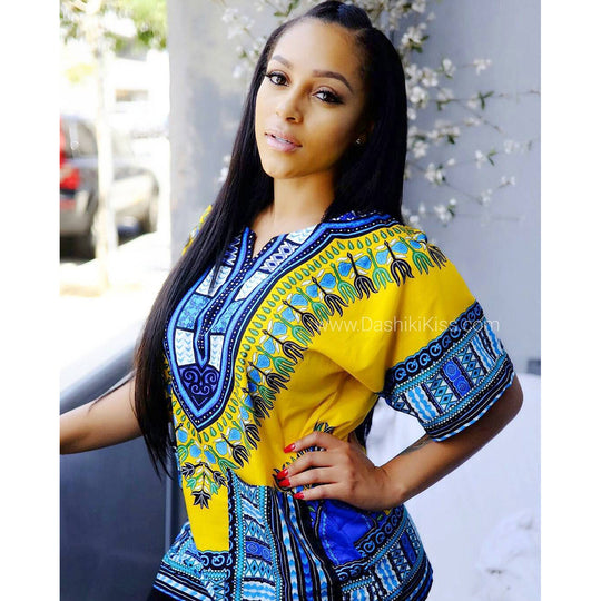 Yellow African Dashiki Shirt for Ladies