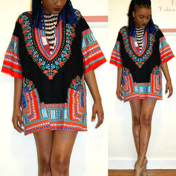 Black and Red Lady African Dashiki Shirt