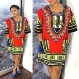 Red Womens African Dashiki Shirt