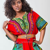 Red Ladies Wear Plus Size African Dashiki Shirt