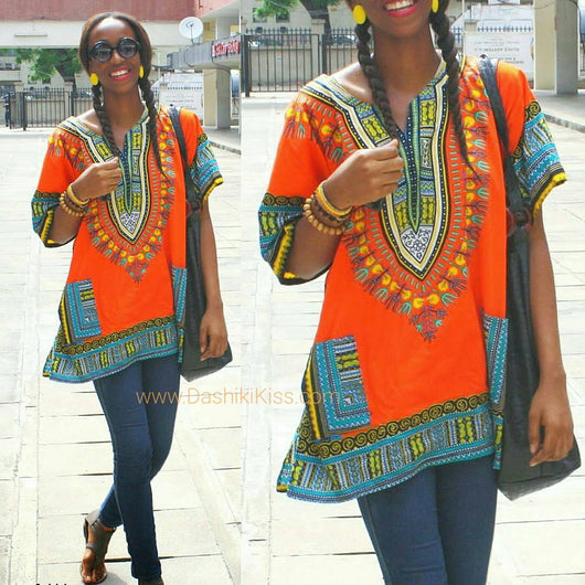 Orange Plus Size African Dashiki Shirt