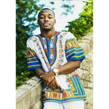 White and Blue Colorful African Dashiki Shirt