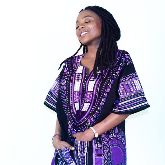 Black and Purple African Dashiki Shirt