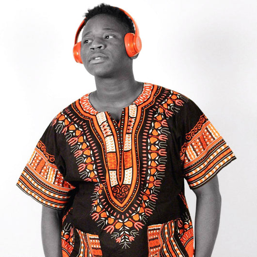 Orange and Black African Dashiki Mens Shirt