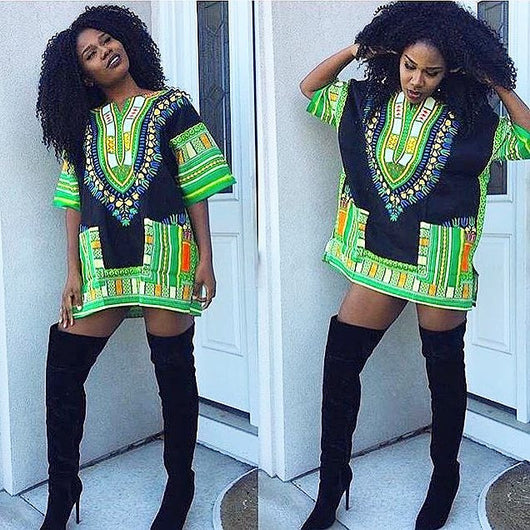 Green and Black African Dashiki Shirt